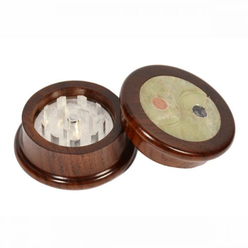 Carved Wood and Stone Mix Herb Grinders